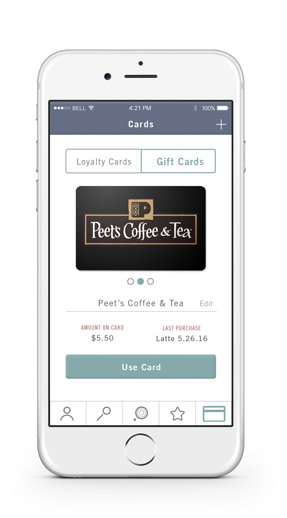 Gift Cards    —   The card tab also allows users to load gift cards they have received for the coffee and tea shops available on the app. This creates a convenient spot to store all of the beverage gift cards in one location.