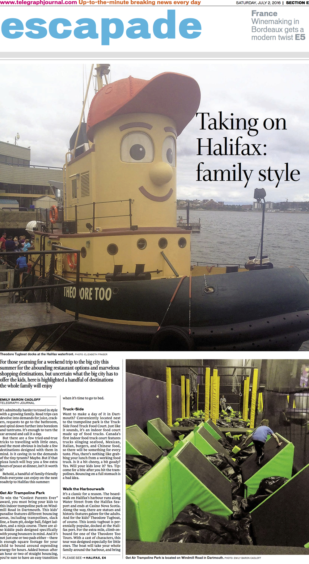 Cover page, travel feature: family-friendly Halifax. New Brunswick Telegraph-Journal, July 2016