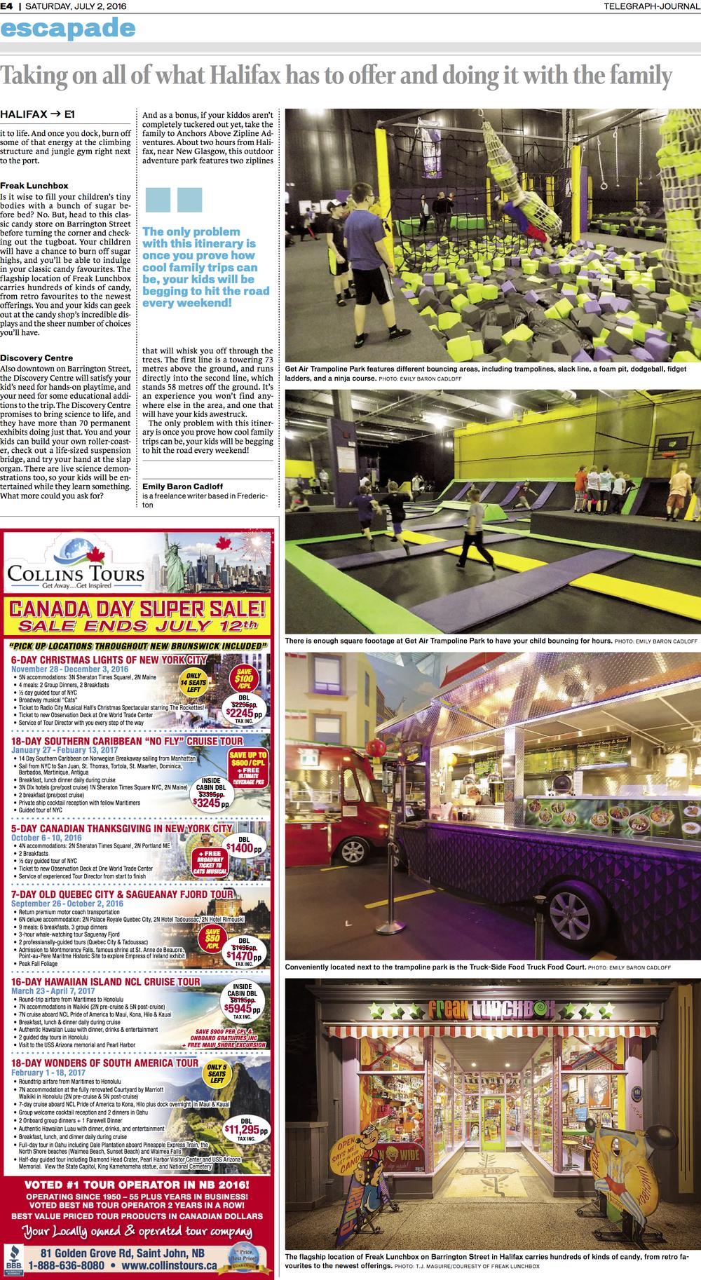 Main page, travel feature: family-friendly Halifax. New Brunswick Telegraph-Journal, July 2016