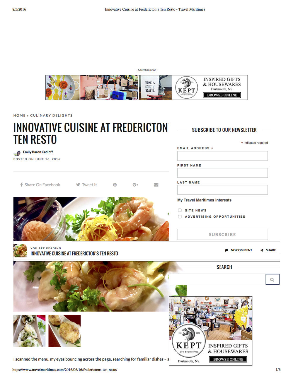 Travel feature and review: Ten Resto. Travel Maritimes, June 2016