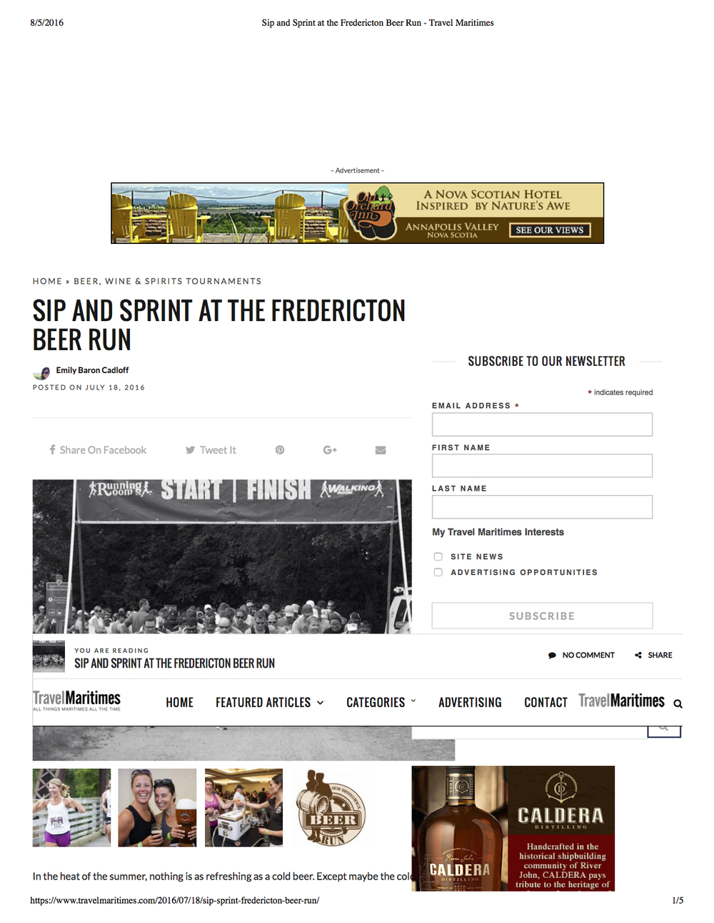 Travel feature on Fredericton Beer Run. Travel Maritimes, July 2016