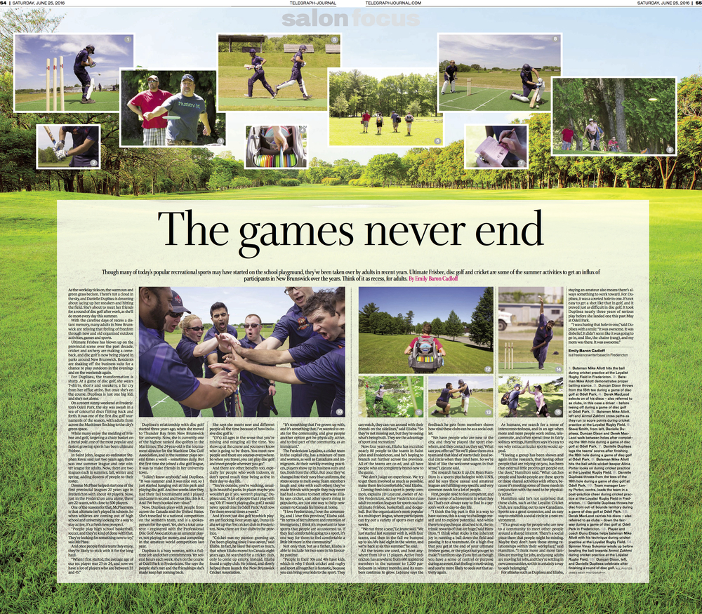 Cover, Feature on adult recreation leagues. New Brunswick Telegraph-Journal. June 2016