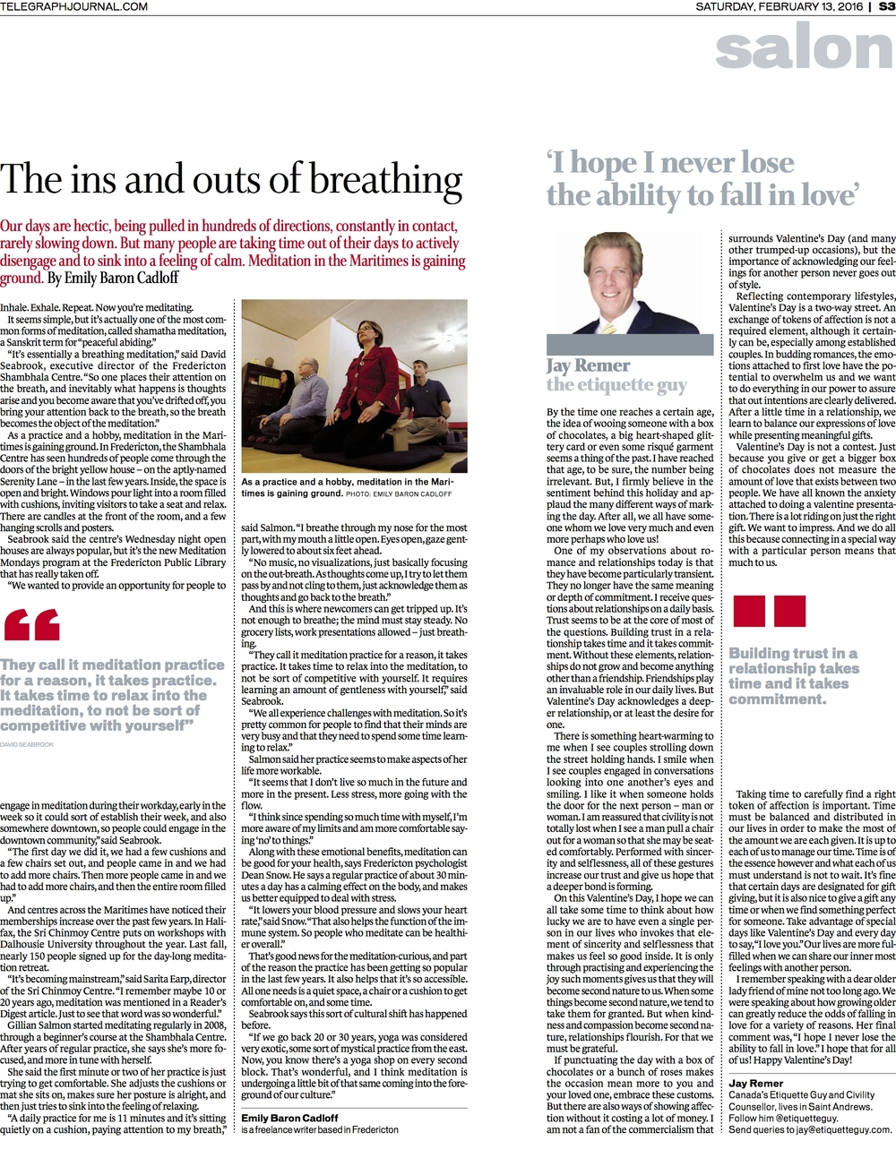 Feature on meditation. New Brunswick Telegraph-Journal, Feb 2016