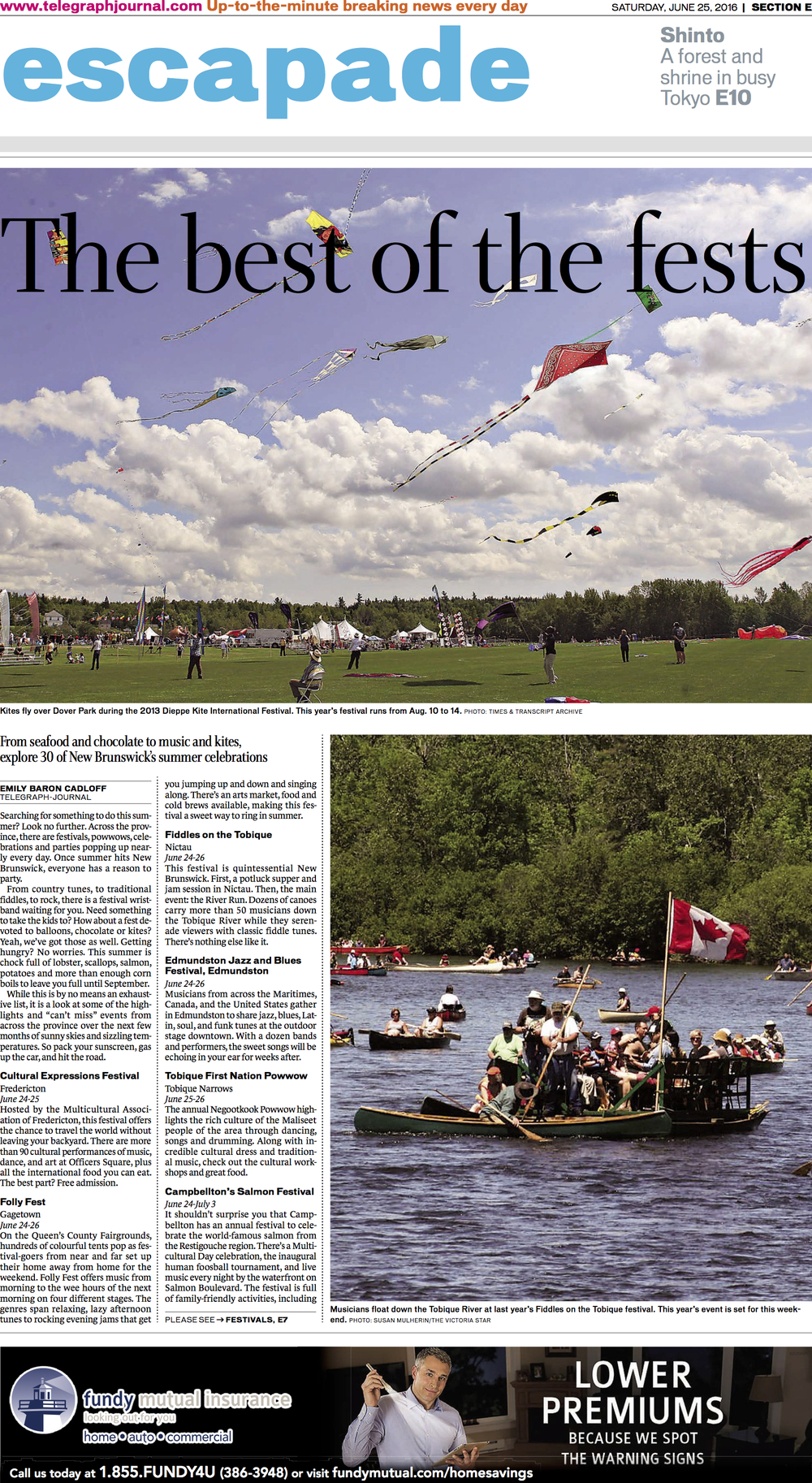 Cover page, feature on summer festivals and events across the province. New Brunswick Telegraph-Journal, June 2016