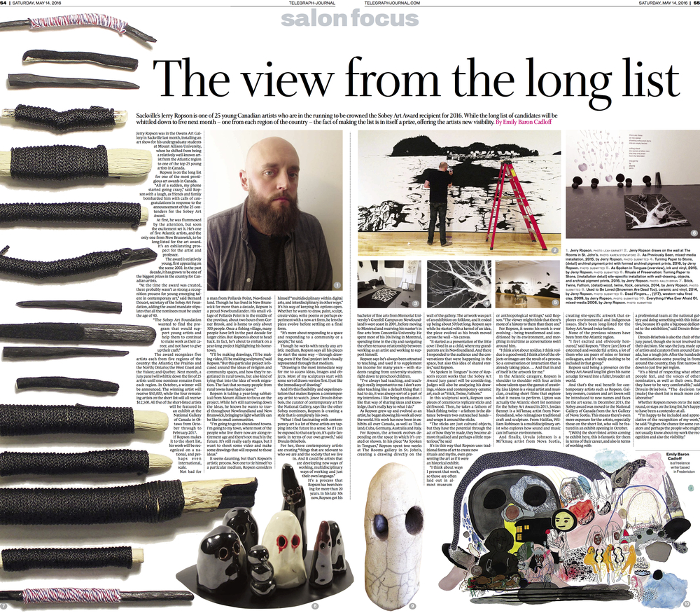 Main page, Interview with artist Jerry Ropson. Feature for New Brunswick Telegraph-Journal, May 2016