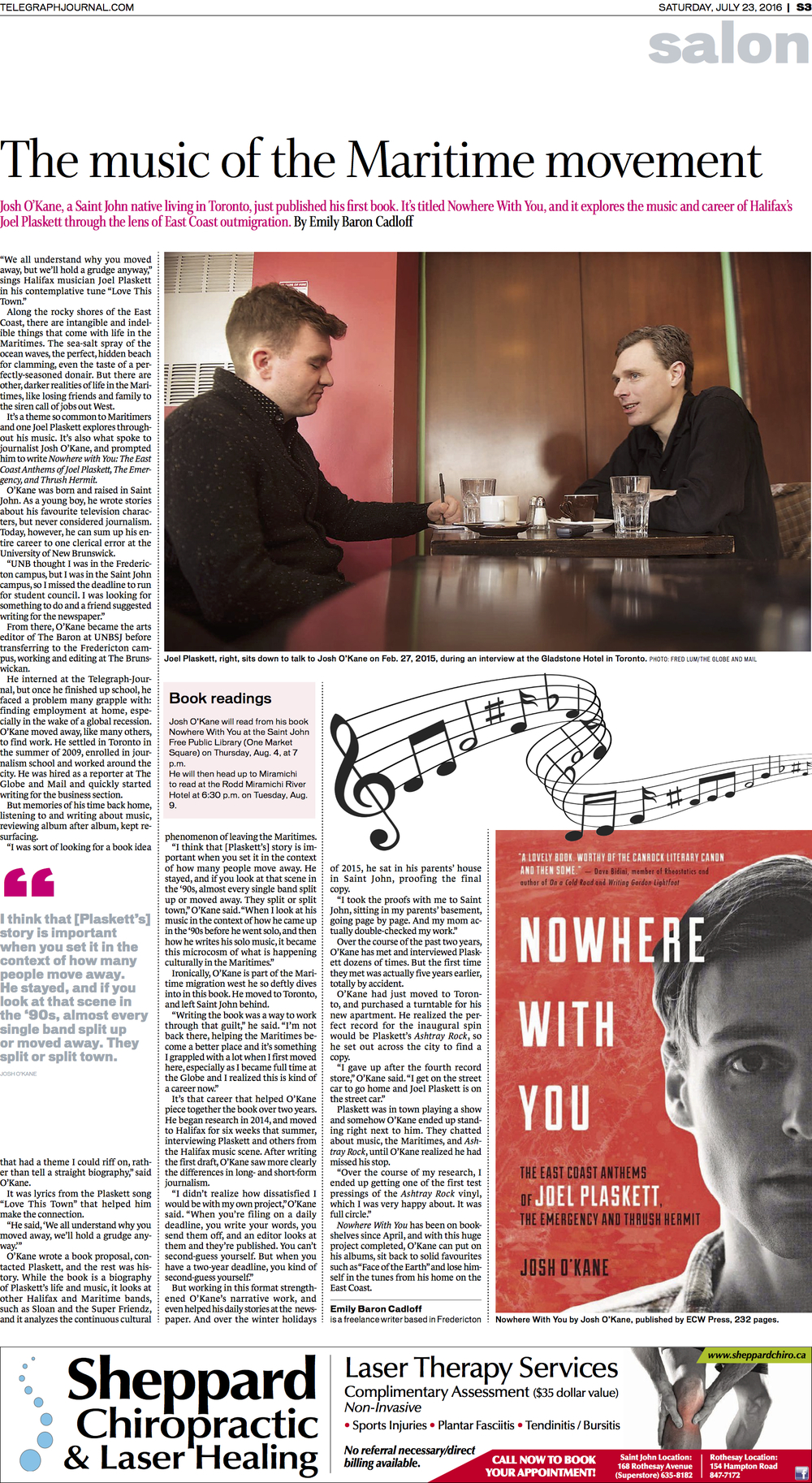Interview with Josh O'Kane on his new book, Feature for New Brunswick Telegraph-Journal, July 2016