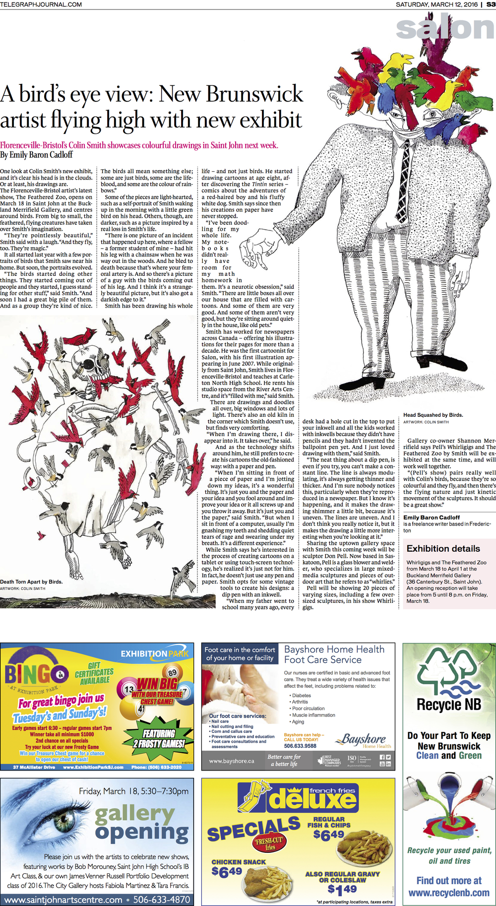 Interview with artist Colin Smith. Feature for New Brunswick Telegraph-Journal, March 2016