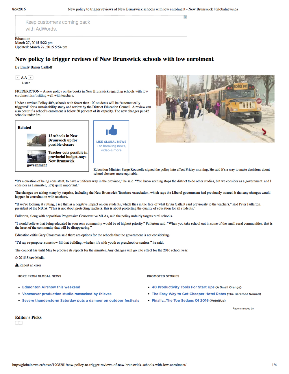 Web and broadcast feature on provincial school closures. Global New Brunswick, March 2015