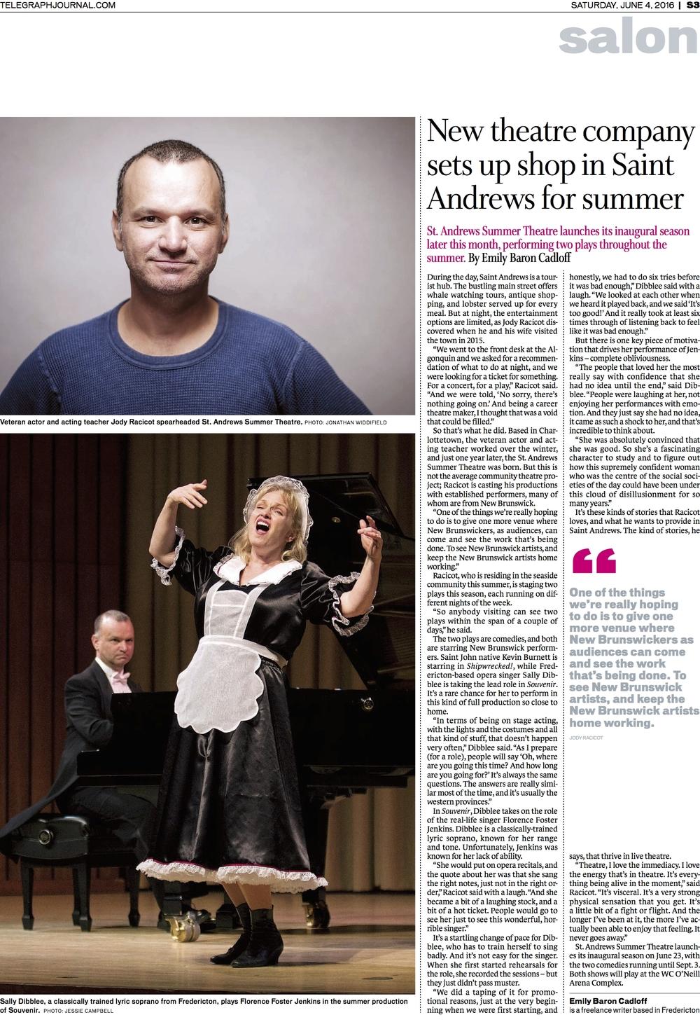 Saint Andrews Summer Theatre - Feature for New Brunswick Telegraph-Journal, June 2016