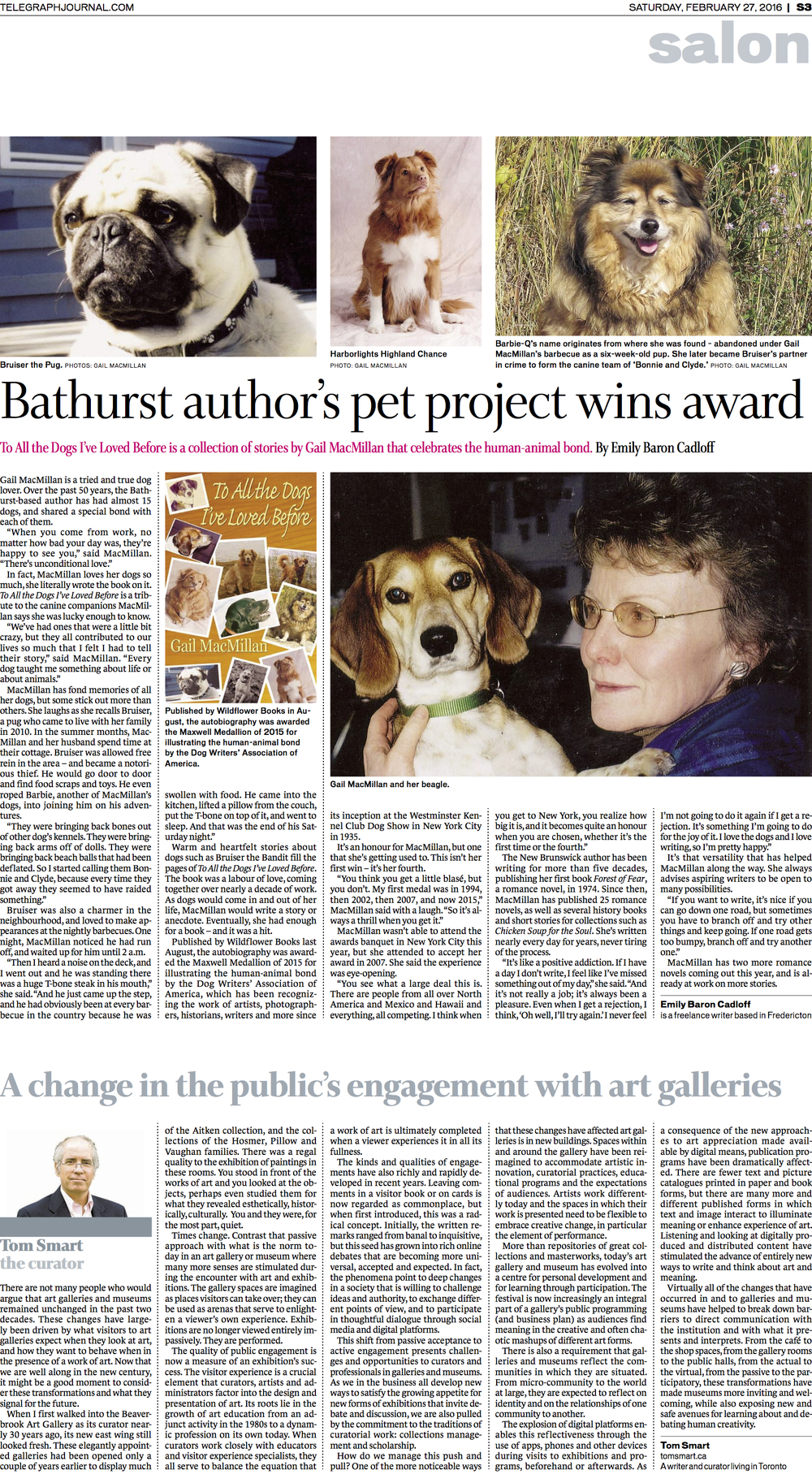 Interview with novelist Gail MacMillan. Feature for New Brunswick Telegraph-Journal, Feb 2016