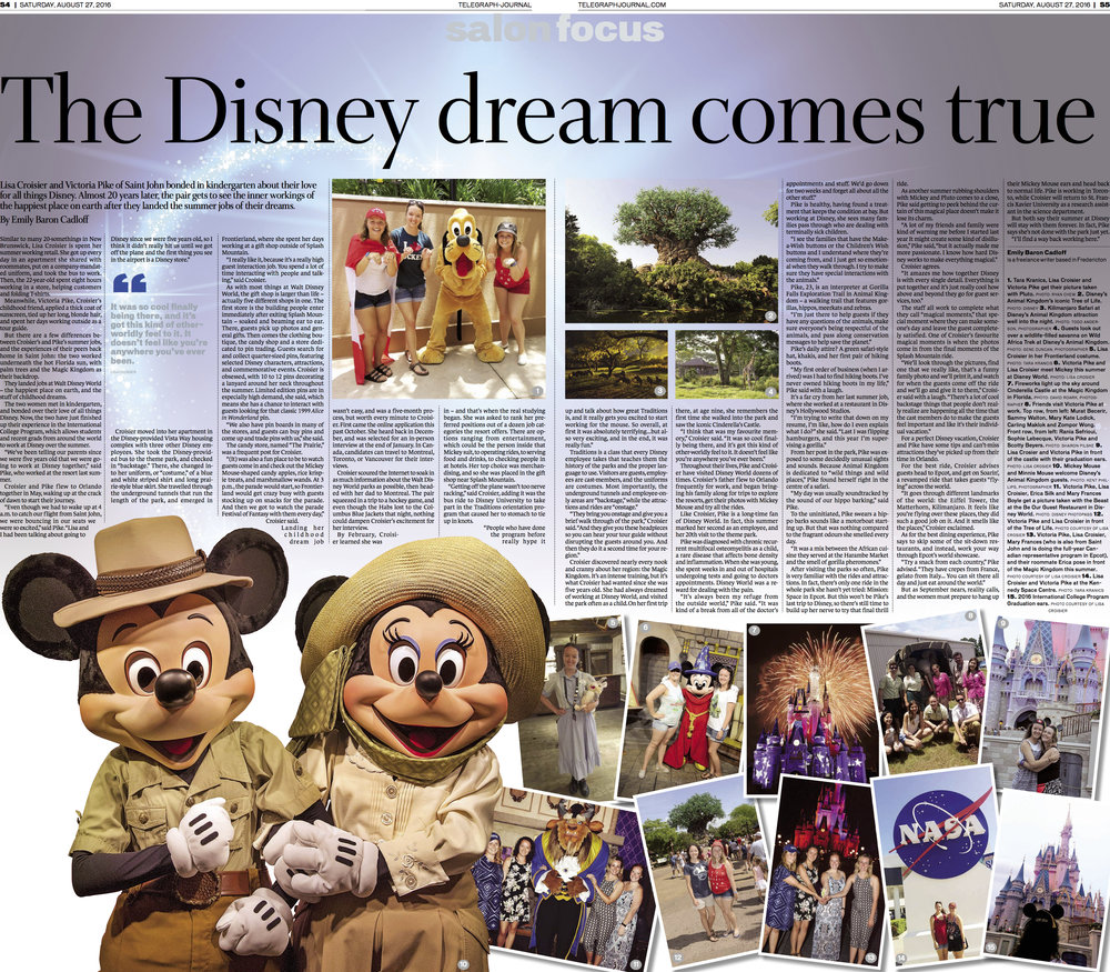 Cover, Feature on summer jobs at Walt Disney World. New Brunswick Telegraph-Journal. August, 2016