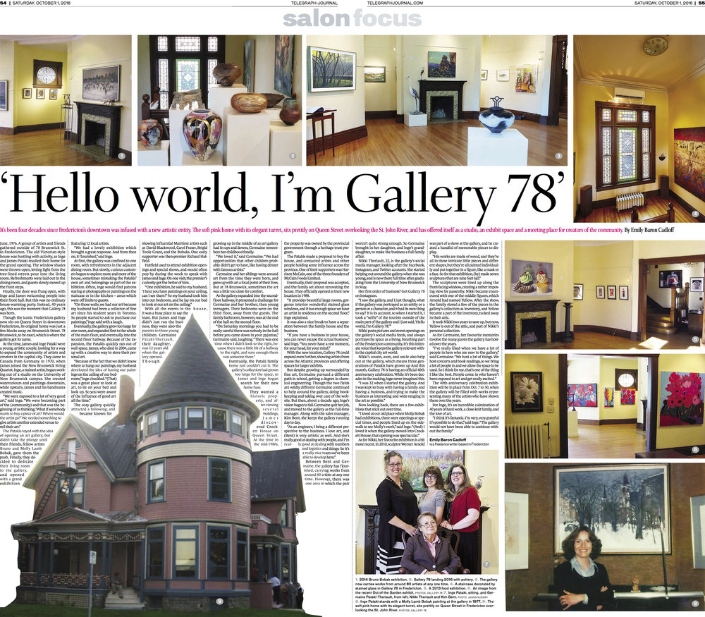 Feature, Gallery 78's 40th Anniversary. Telegraph-Journal, Oct. 1, 2016