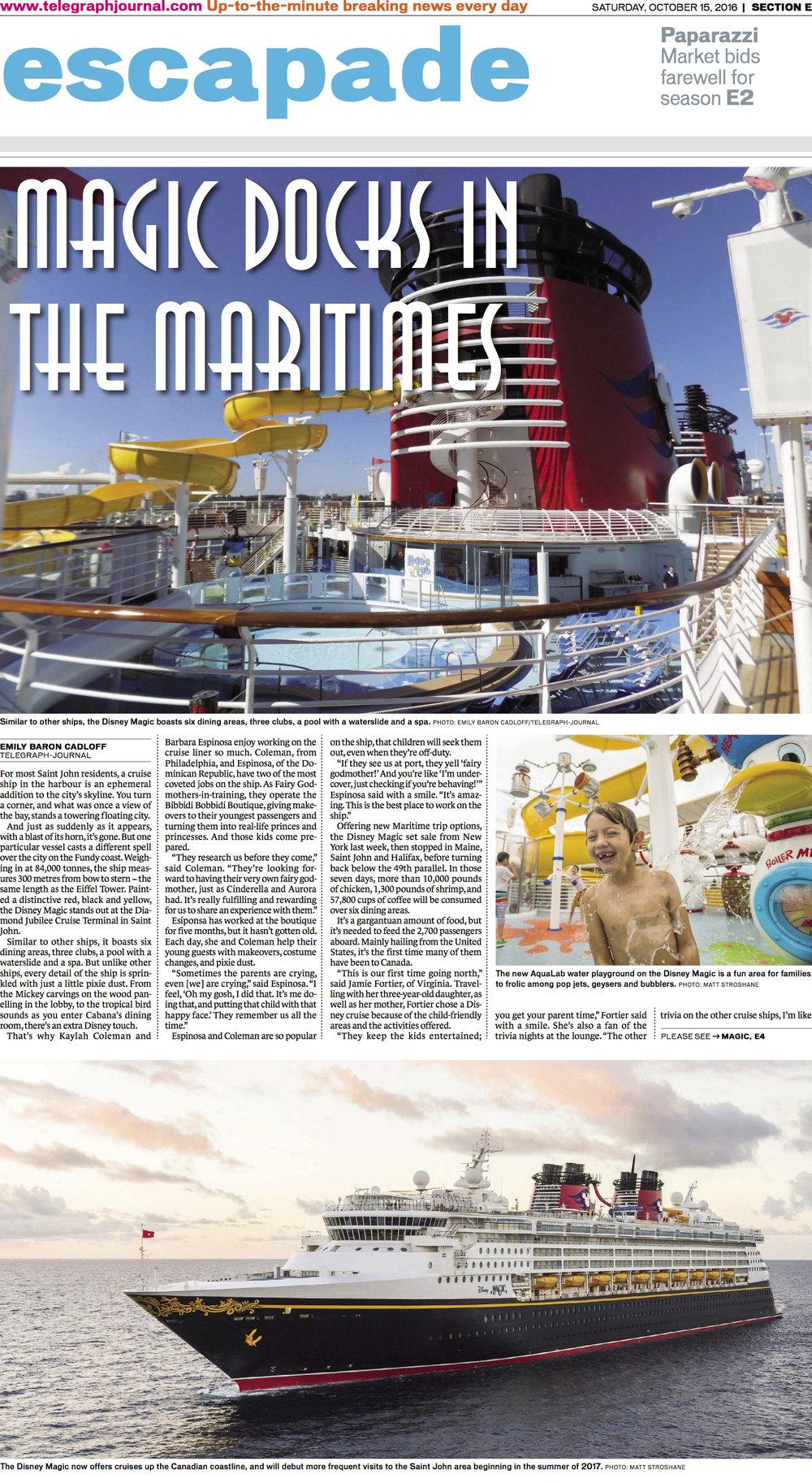 Cover, Escapade, Telegraph-Journal. Oct. 15, 2016