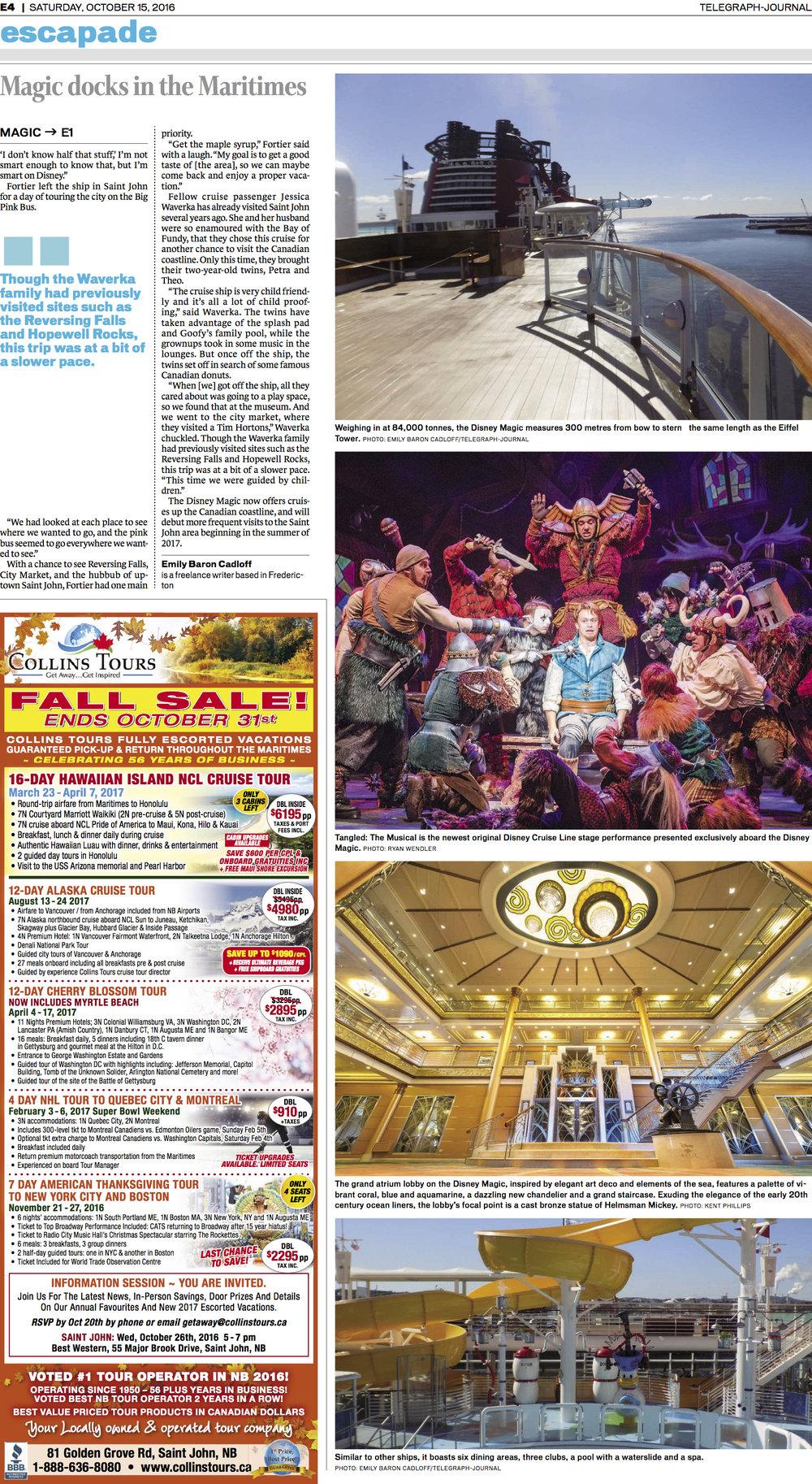 Inside feature, Escapade, Telegraph-Journal. Oct 15, 2016.