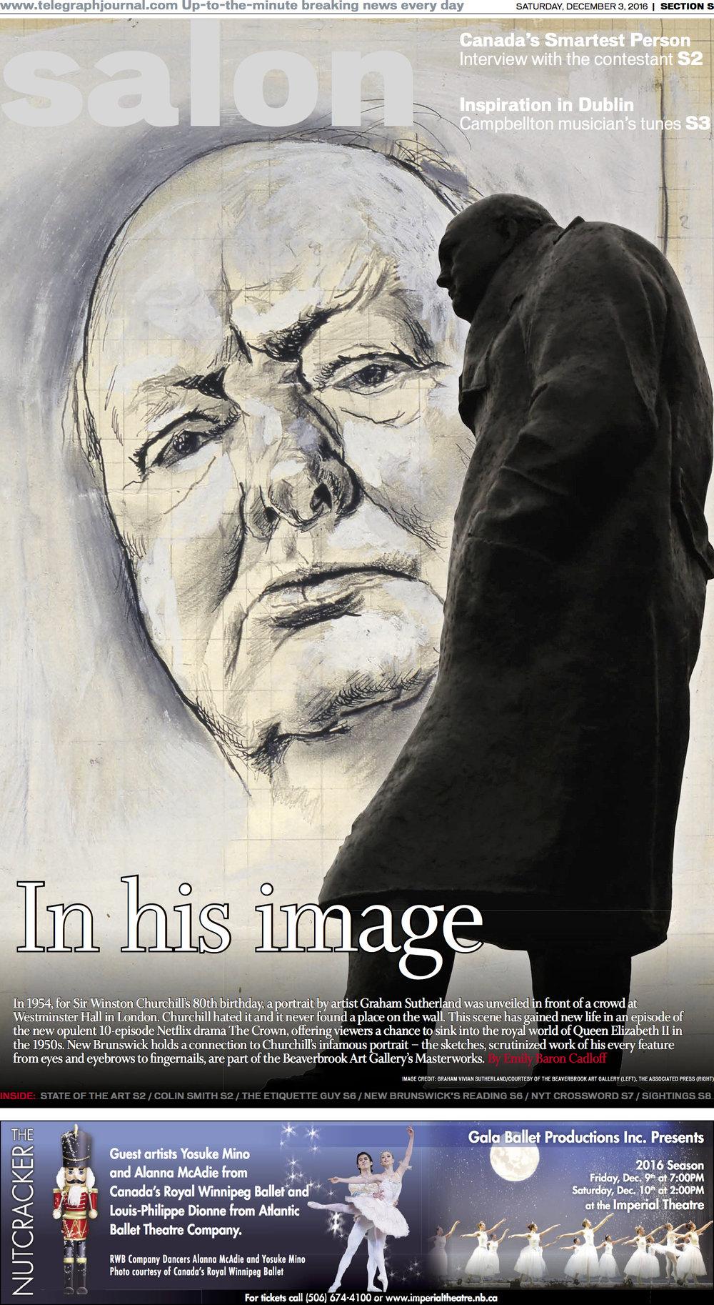 Cover, Churchill sketches in New Brunswick. Telegraph-Journal, Dec 3,2016