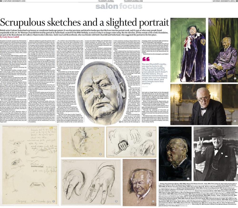 Feature, Churchill sketches in New Brunswick. Telegraph-Journal, Dec 3,2016