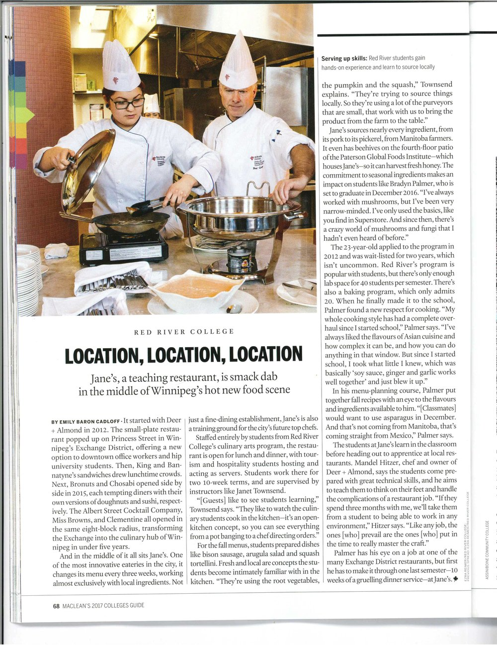 Feature, Jane's Restaurant in Winnipeg. Maclean's Colleges Guide, Nov, 2016