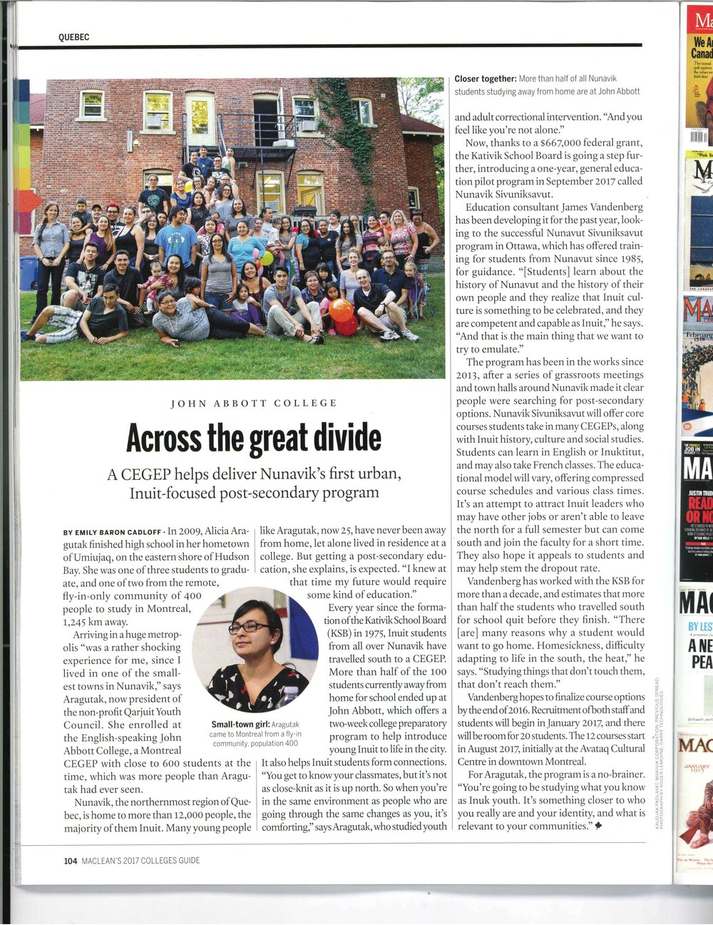 Story for Maclean's College Guide, November 2016