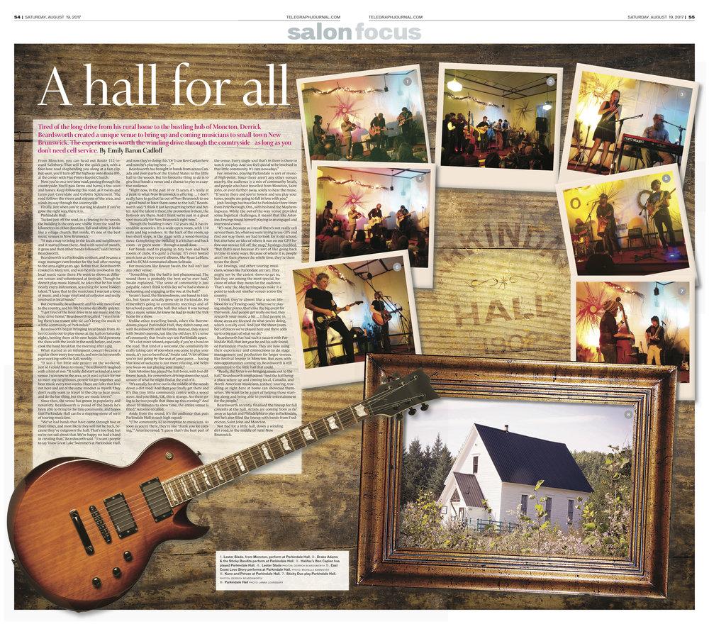 Feature for New Brunswick Telegraph-Journal. Aug 19, 2017