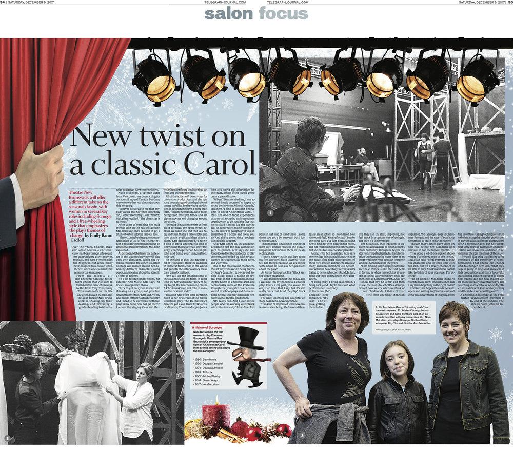 Cover spread for New Brunswick Telegraph-Journal Dec 9, 2017