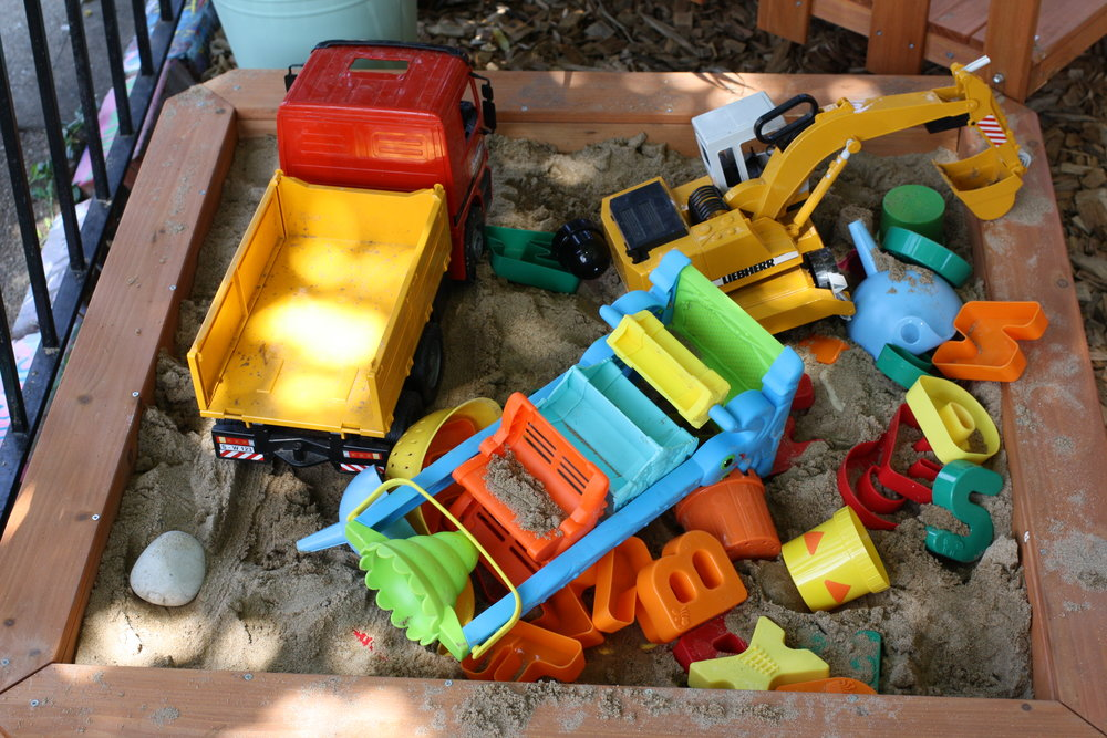 It's funny how many things from the dirt pit migrate to the sand box, though it's on the other side of our garden.