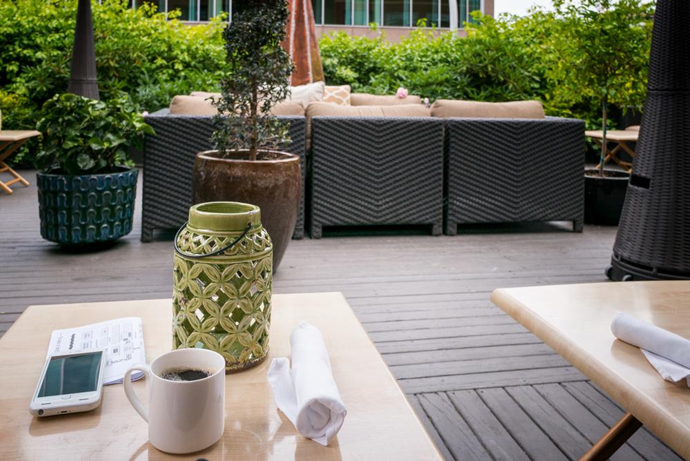 Morning coffee. Prince George Hotel.