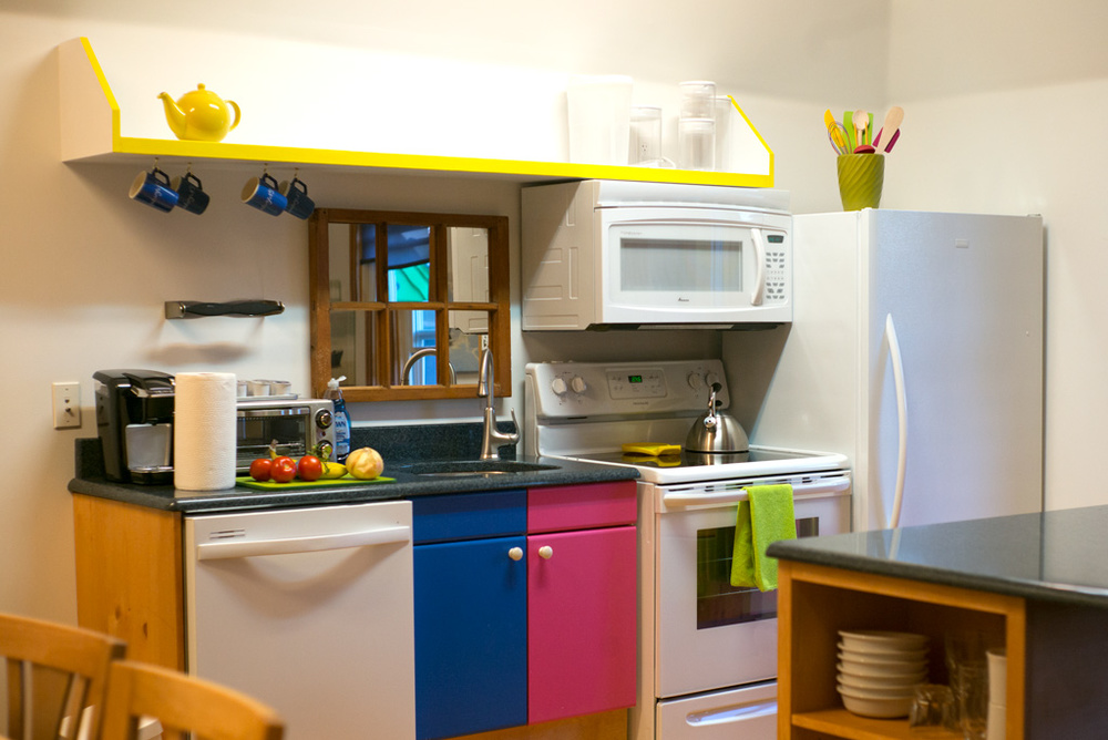 We had a cute and colorful kitchen.