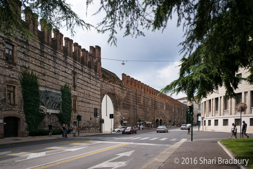 The fortress wall. Verona, Italy.