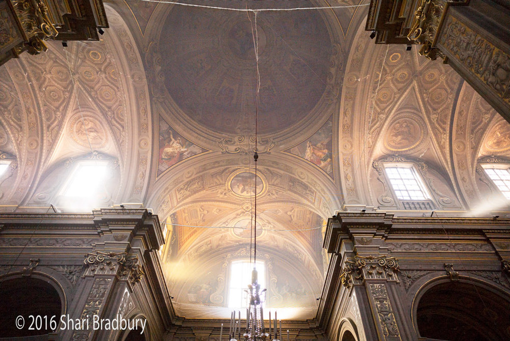 Ceilings of Ferrara Cathedral, during restoration.  Ferrara, Italy.
