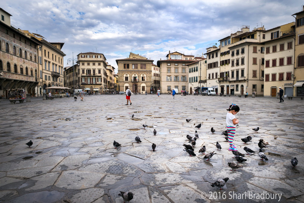 A young girl feeds the birds in Piazza Santa Croce.
