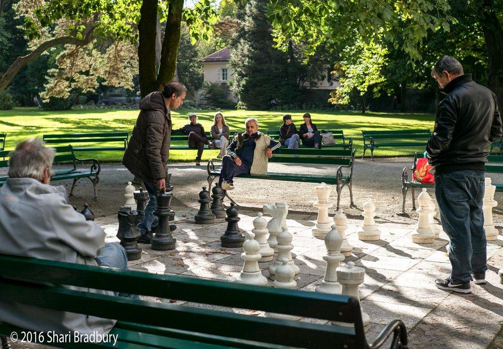 Neighborhood chess game, Innsbruck, Austria.