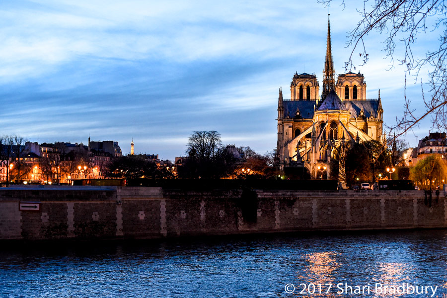 The view of Notre Dame from the bridge that was only a half block from our apartment.
