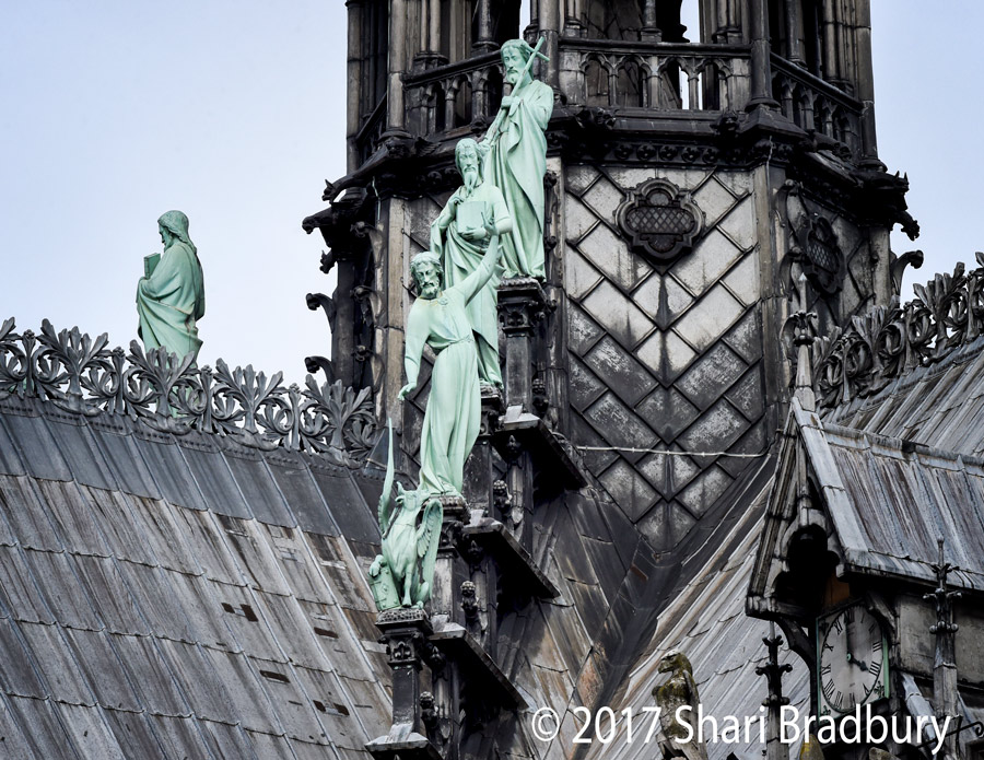 If you've ever wanted a close-up look at those statues at the tippy-top of Notre Dame, here you go!