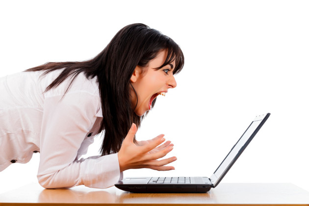 "God bless stock photography. I googled ""people screaming computer"" and got this."