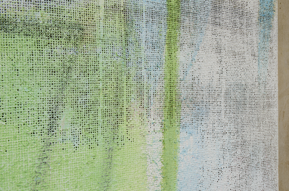 Plaza (detail), 2015, 152 x 112 cm, acrylic, oil, emulsion and plaster on hessian.