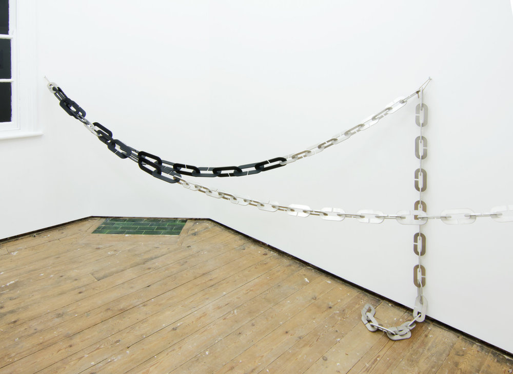 Harald Klingelhöller,  Streets After the Rain , 2012, aluminium and anodised aluminium, 120 x 500 x 135 cm.
