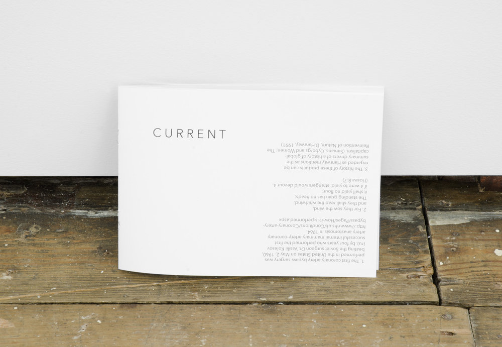 CURRENT, 2014, 'pamphlet' containing exhibition text.