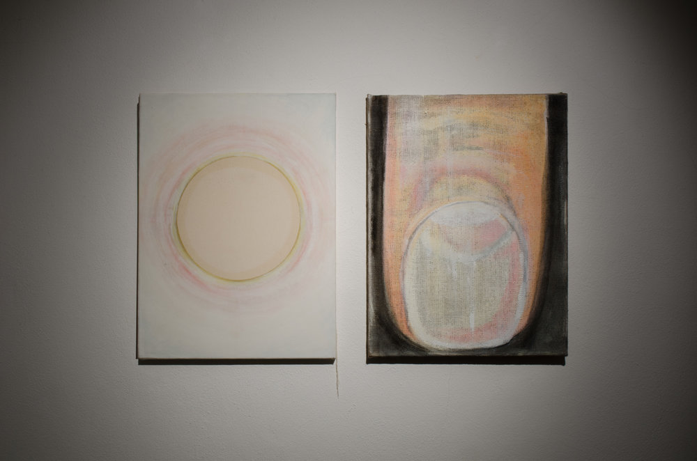 Gordon Schmidt,  Leaver 1 (diptych) , 2014, oil, acrylic, plaster, emulsion, PVA on raw canvas and hessian, 61 x 101cm.