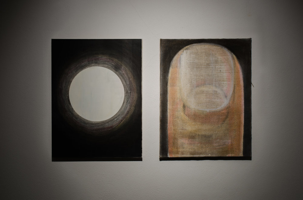 Gordon Schmidt,  Leaver 2 (diptych) , 2014, oil, acrylic, plaster, emulsion, PVA on raw canvas and hessian, 61 x 101cm.