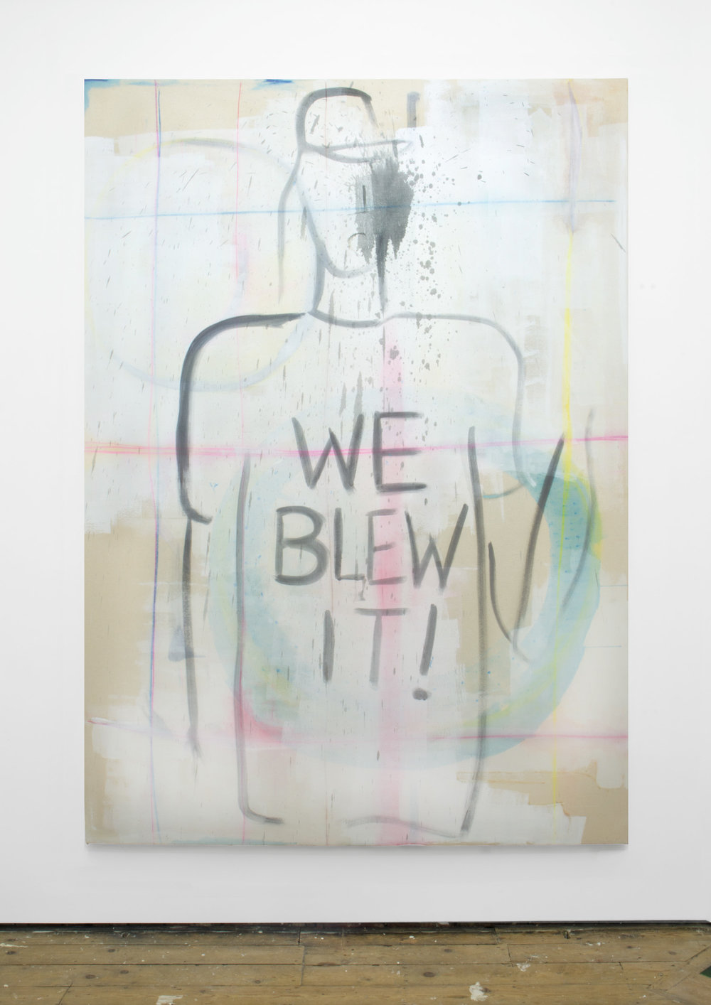 Badge, 2015, 259 x 184 cm, acrylic, oil, emulsion and chalk on canvas.