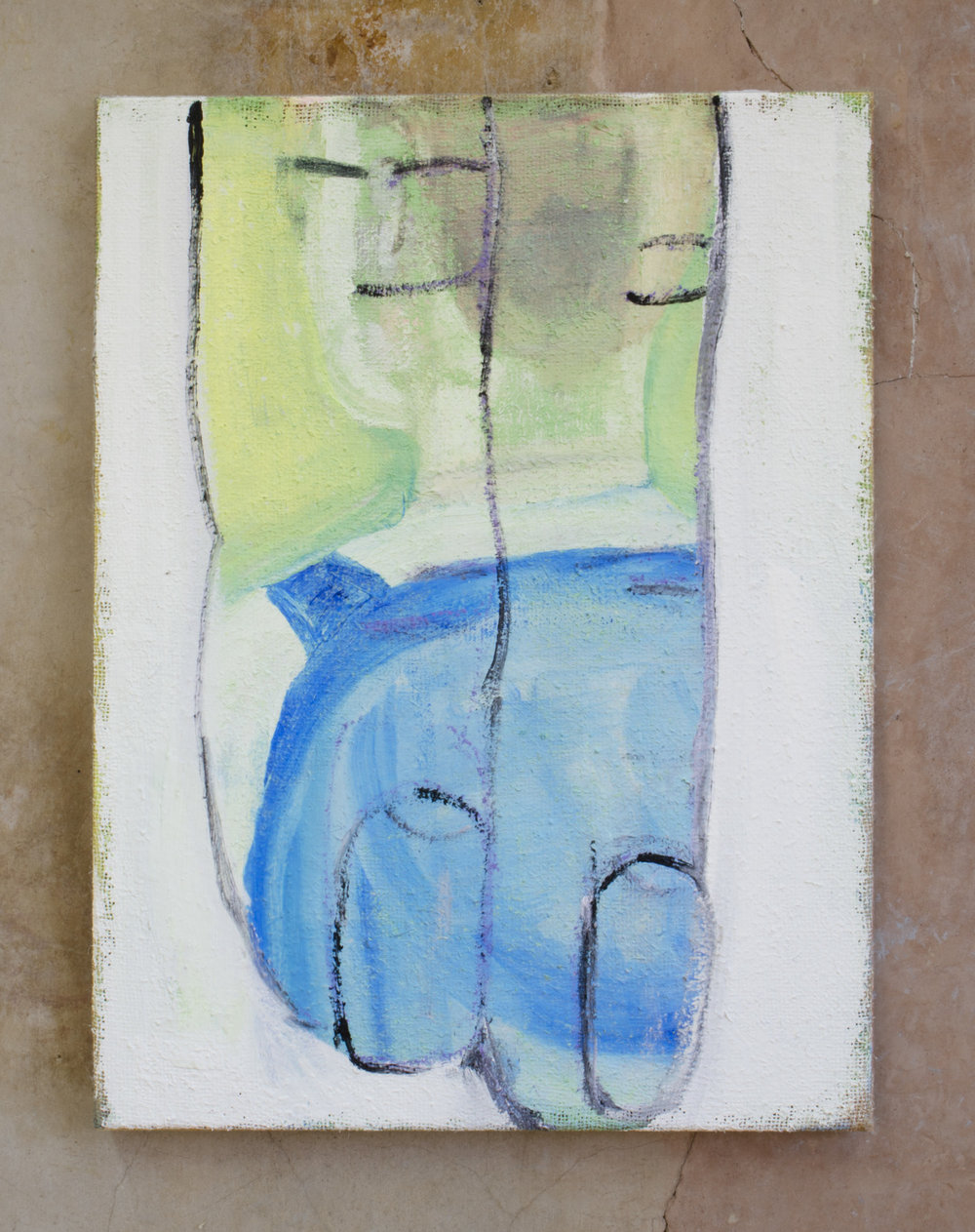 Backpack, 2015, 61 x 46 cm, acrylic, oil, emulsion, plaster and chalk on hessian.