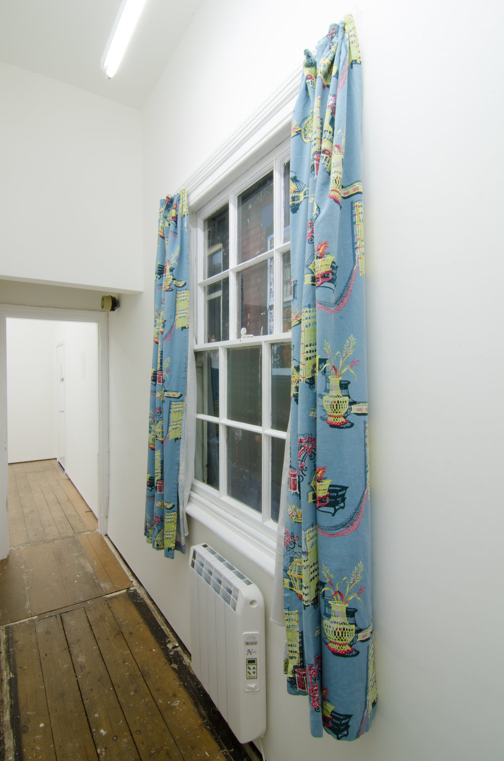 Andrew Munks  A window into 1976, streetview (Bulmer vision)  2016 Encapsulated inkjet print on wood panel, curtains, cable.