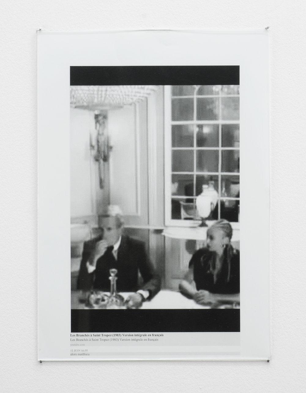 Christophe de Rohan Chabot Untitled (Les Branchés à Saint Tropez, 1983, Version intégrale en français) 2016 Laser jet print, glass, nails, 29.1 x 21 x 0.2cm