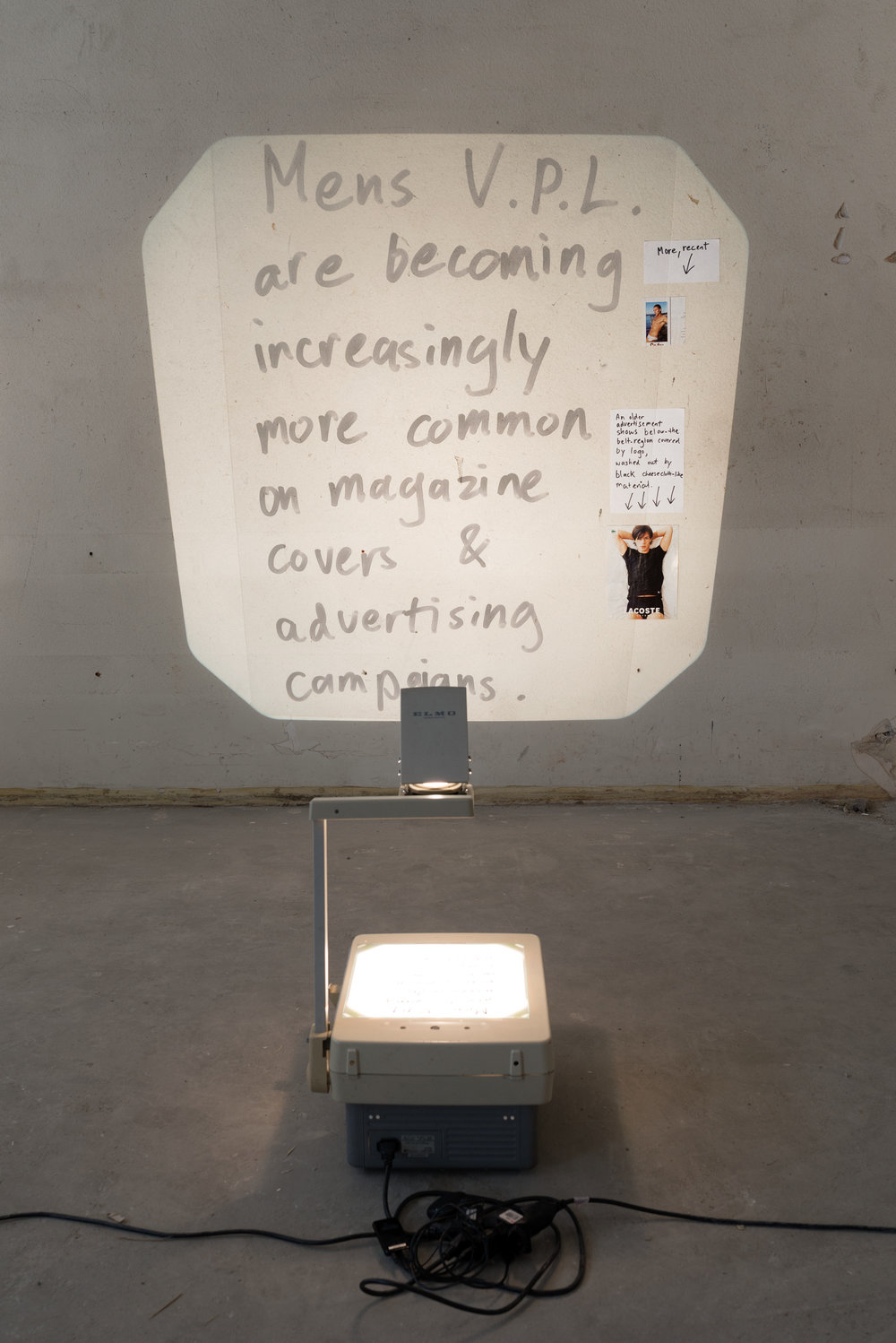 Alex Vivian  Magazine stuff (VPL)  2013/17 Acetate, permanent marker, overhead-projector Dimensions variable