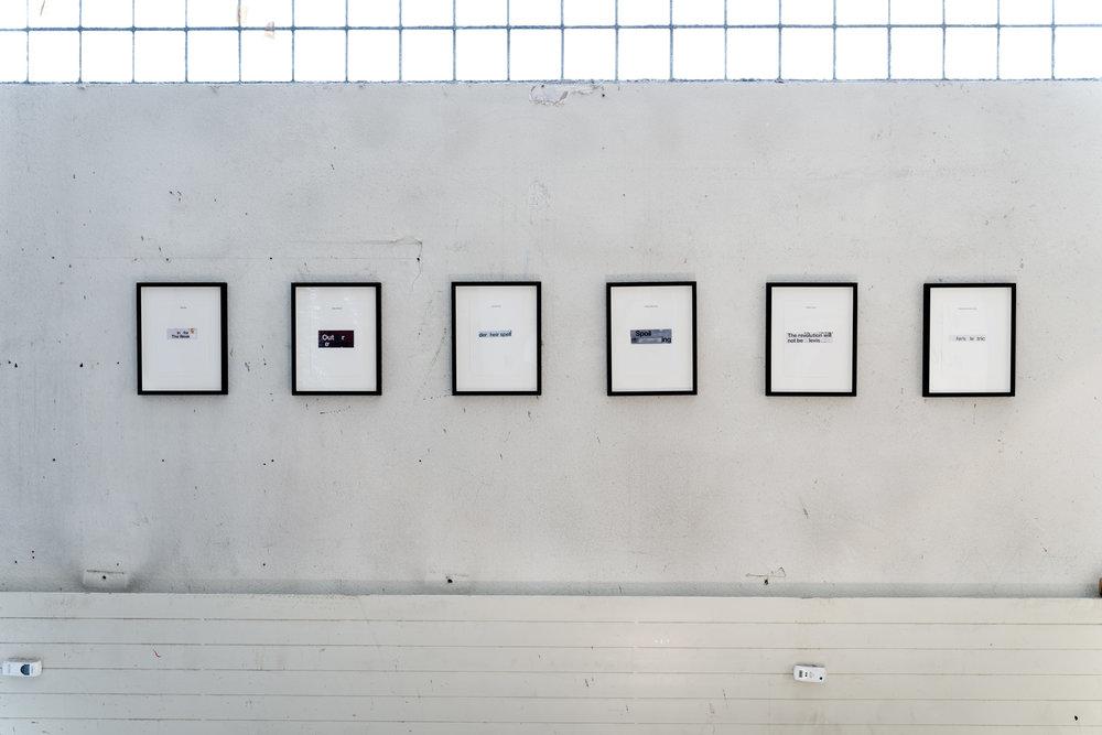 Stuart McKenzie  L-R: Recluse, Brits Abroad, Lazy German, Taking Ones Time, Denim Crisis, Impressionism Rebranded  2016 Collage on paper (framed) 21 x 14.8cm