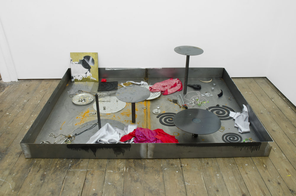 Burst City archived 2017 Welded steel tray with fabricated and found objects 50 x 1400 x 1900 cm