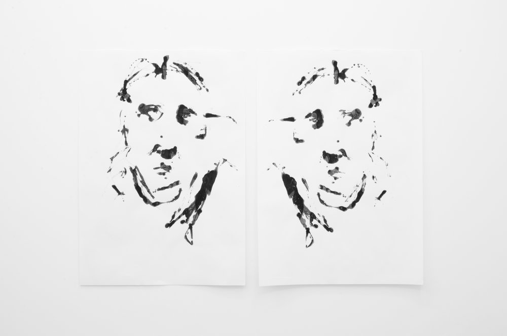 Deo-Drawing (Self-portrait 2) 2017 Printing ink on found paper 84 x 122 cm