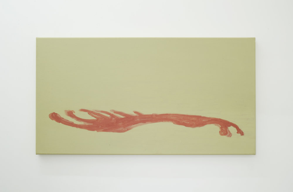 Mantle  2001 Oil and wax on canvas 30 x 75 cm