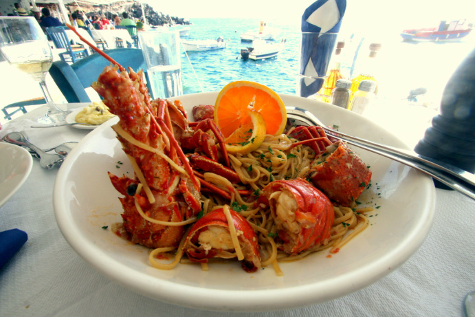 Lobster pasta overlooking the ocean it came from? Yes please.