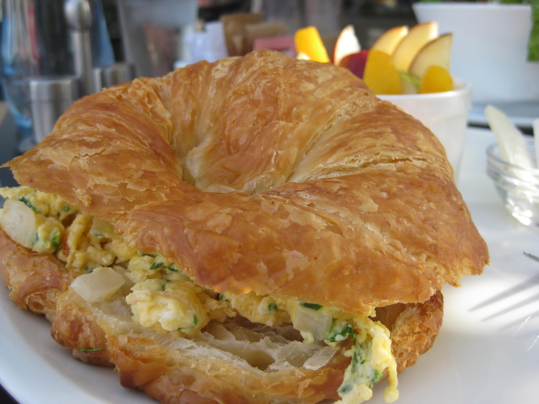 Breakfast egg croissant at Zamn Cafe.